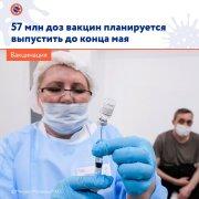 57 млн доз вакцин от коронавируса планируется выпустить в России до конца мая